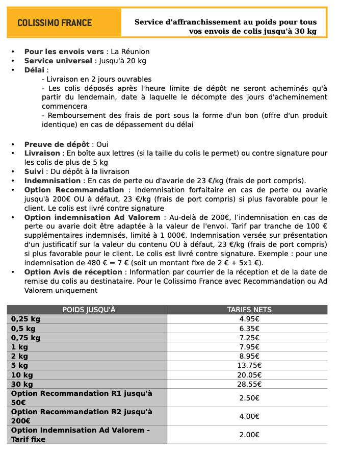Tarif colissimo Réunion 2020